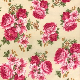 100% Cotton Fabric Realistic Floral Flowers & Leaves Bunched Rose Heads 145cm Wide Cream 447