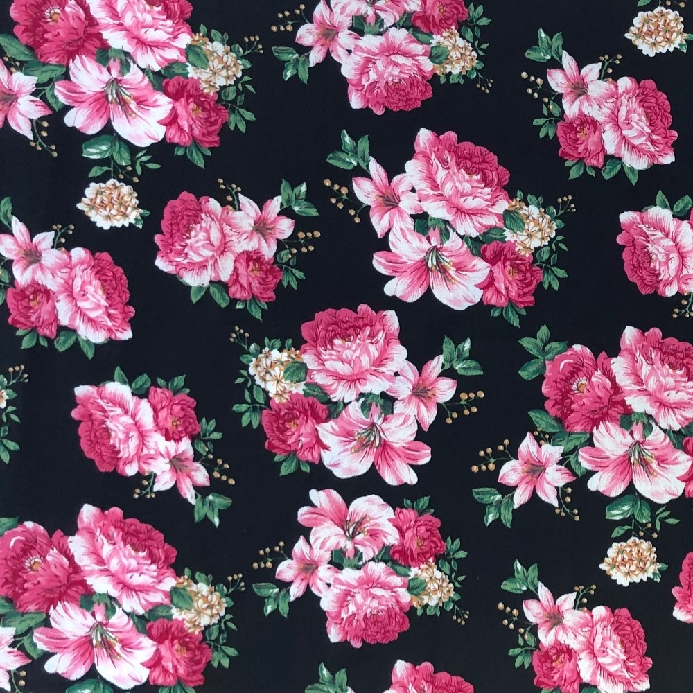 100% Cotton Fabric Realistic Floral Flowers & Leaves Bunched Rose Heads 145cm Wide Black 446