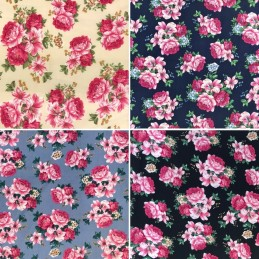 100% Cotton Fabric Realistic Floral Flowers & Leaves Bunched Rose Heads 145cm Wide