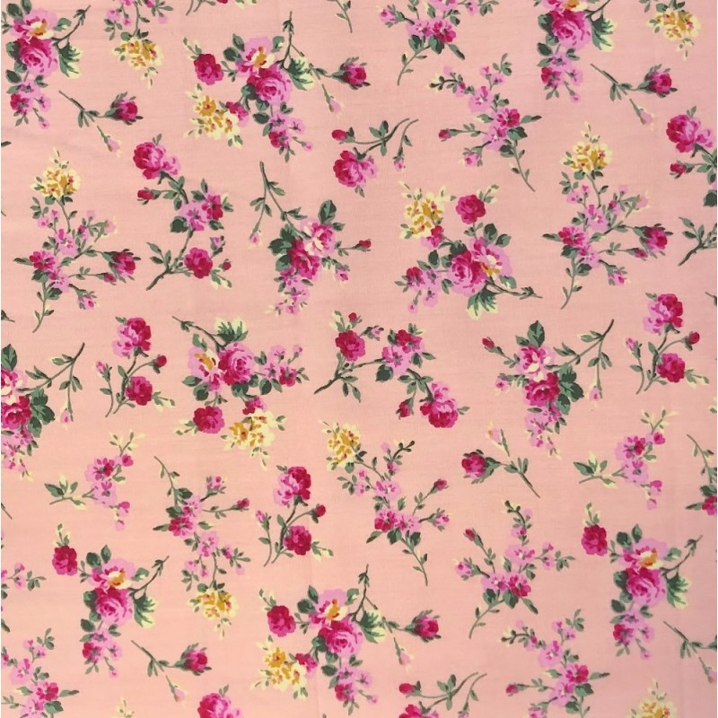 100% Cotton Fabric Small Ditsy Pink Roses Floral Flower Stems Leaves 145cm Wide Pink 280