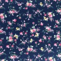 100% Cotton Fabric Small Ditsy Pink Roses Floral Flower Stems Leaves 145cm Wide Navy 450