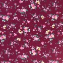100% Cotton Fabric Small Ditsy Pink Roses Floral Flower Stems Leaves 145cm Wide Wine 450