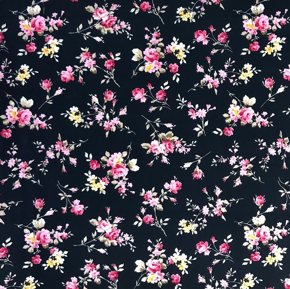 100% Cotton Fabric Small Ditsy Pink Roses Floral Flower Stems Leaves 145cm Wide Black 448