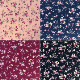 100% Cotton Fabric Small Ditsy Pink Roses Floral Flower Stems Leaves 145cm Wide