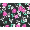 100% Cotton Fabric Small Ditsy Pink Roses Floral Flower Stems Leaves 145cm Wide Black