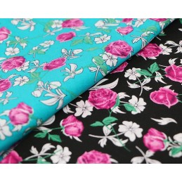 100% Cotton Fabric Graphic Illustrated Mix Floral Flower Rose Leaves 145cm Wide