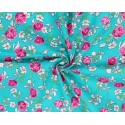 100% Cotton Fabric Small Ditsy Pink Roses Floral Flower Stems Leaves 145cm Wide Turq