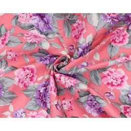 Pink 100% Cotton Fabric Blooming Rose Heads Leaves Floral Flower 145cm Wide