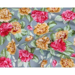100% Cotton Fabric Blooming Rose Heads Leaves Floral Flower 145cm Wide