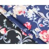 100% Cotton Fabric Stylistic Floral Flower Bunch Rose Leaves Stem 145cm Wide