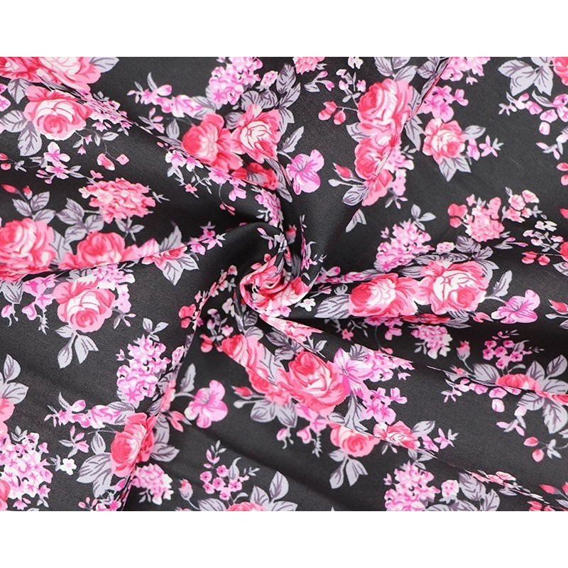 100% Cotton Fabric Becky's Beautiful Blooms Bunched Floral Flowers 145cm Wide Black