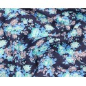 100% Cotton Fabric Becky's Beautiful Blooms Bunched Floral Flowers 145cm Wide Navy