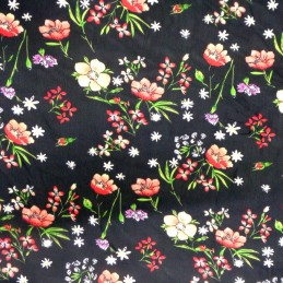 Red Chiffon Print Dress Bridal Fabric Poppies Poppy Floral Flowers 150cm Wide