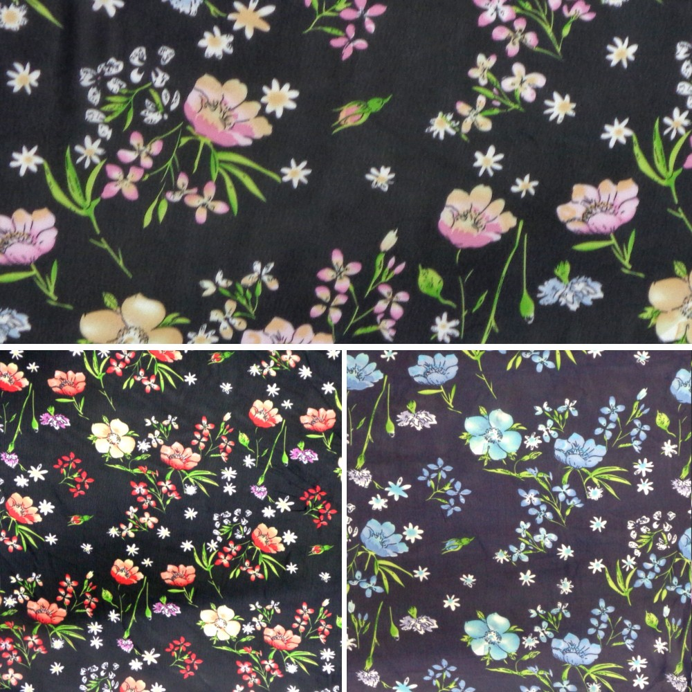 Blue Chiffon Print Dress Bridal Fabric Poppies Poppy Floral Flowers 150cm Wide