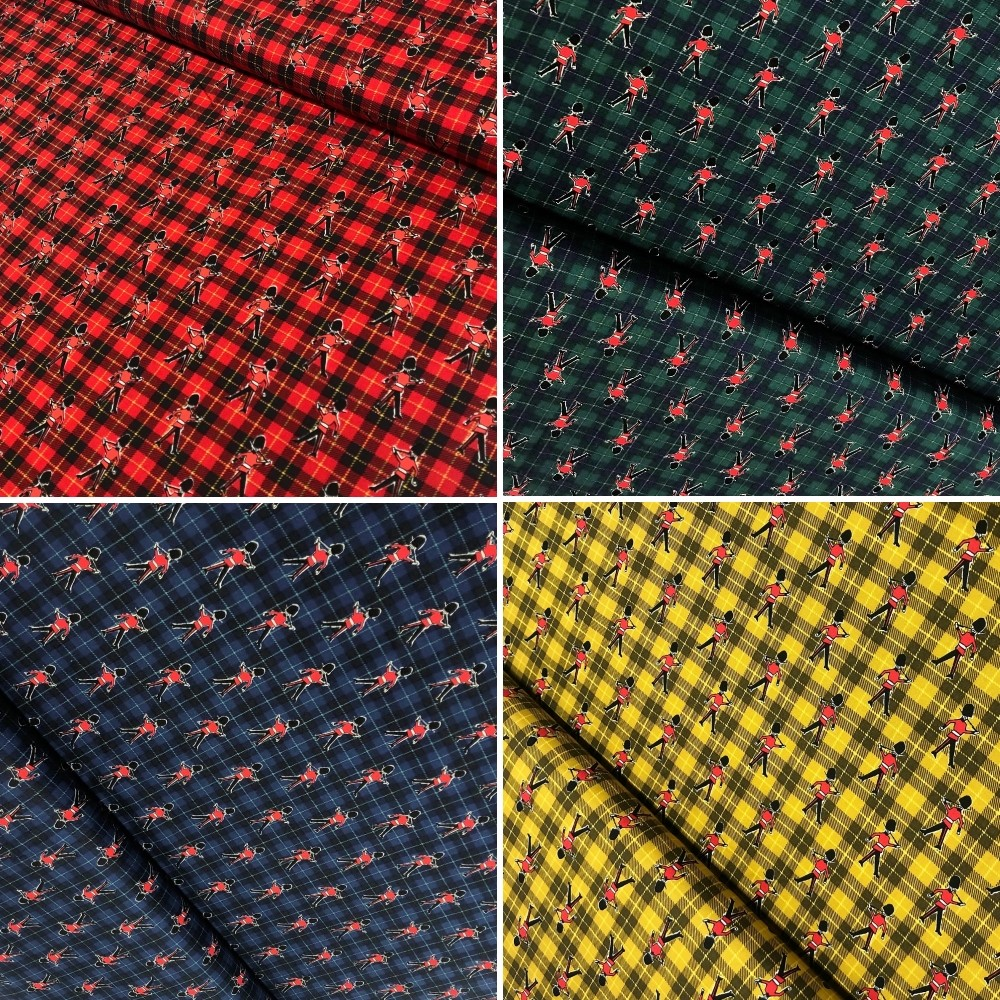 100% Japanese Cotton Fabric Sevenberry Tartan Check Queen's Guard Royal Red
