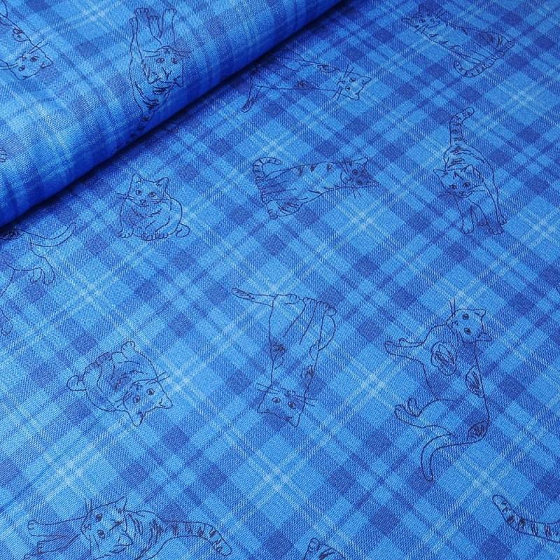 100% Japanese Cotton Fabric Sevenberry Tartan Check Outline Cats Kitten Kitty Kitties Blue