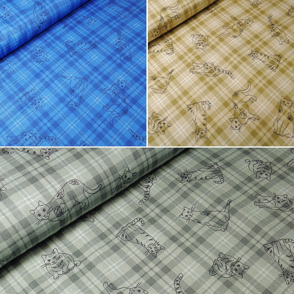 100% Japanese Cotton Fabric Sevenberry Tartan Check Outline Cats Kitten Kitty Kitties Blue