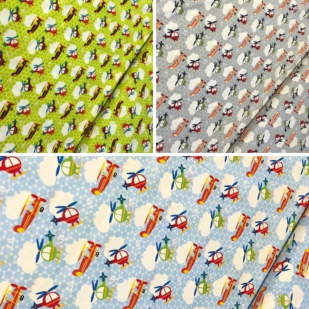 100% Cotton Fabric by Fabric Freedom Helicopter Airplane Clouds Sky