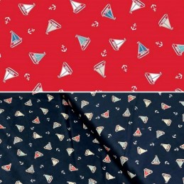 100% Cotton Fabric Makower Marina Tossed Yachts Sailing Boats Anchors Nautical