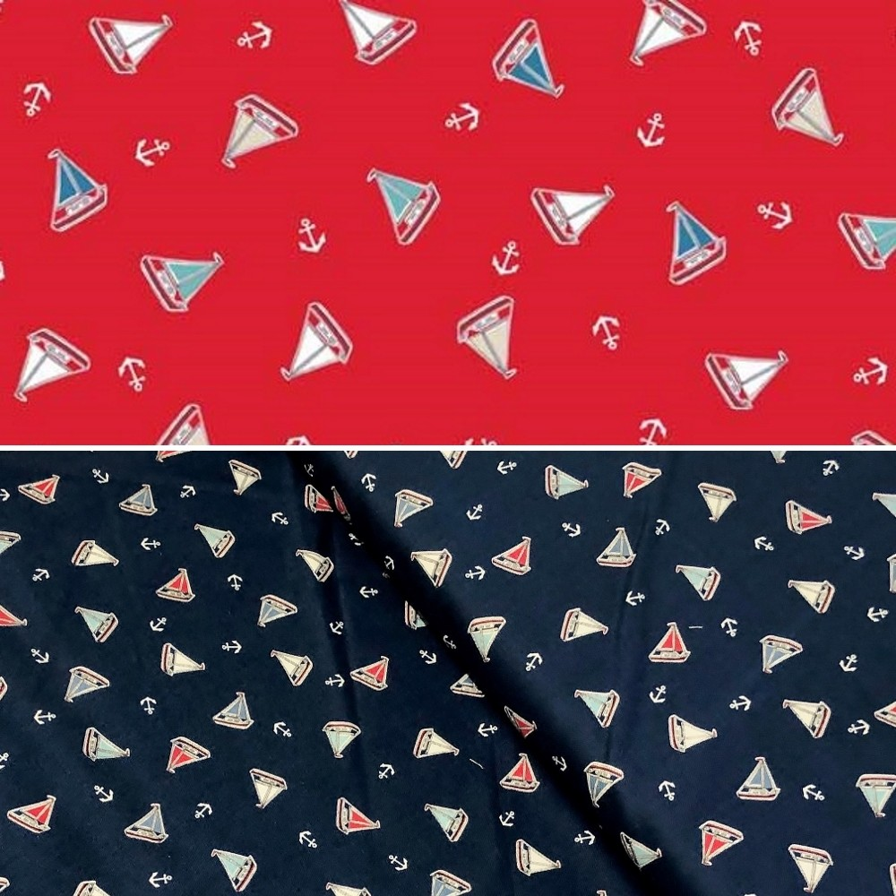Marina Tossed Yachts Sailing Boats Anchors Nautical 100% Cotton Fabric (Makower)
