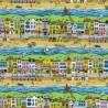 100% Cotton Patchwork Fabric Nutex Seaside Promenade Beach Nautical