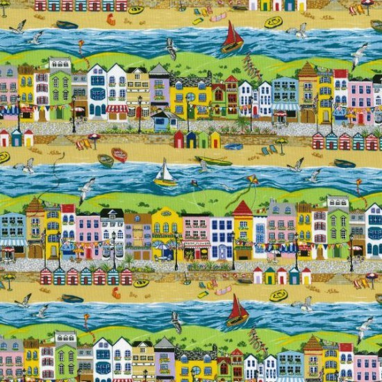 100% Cotton Patchwork Fabric Nutex Seaside Promenade Beach Nautical