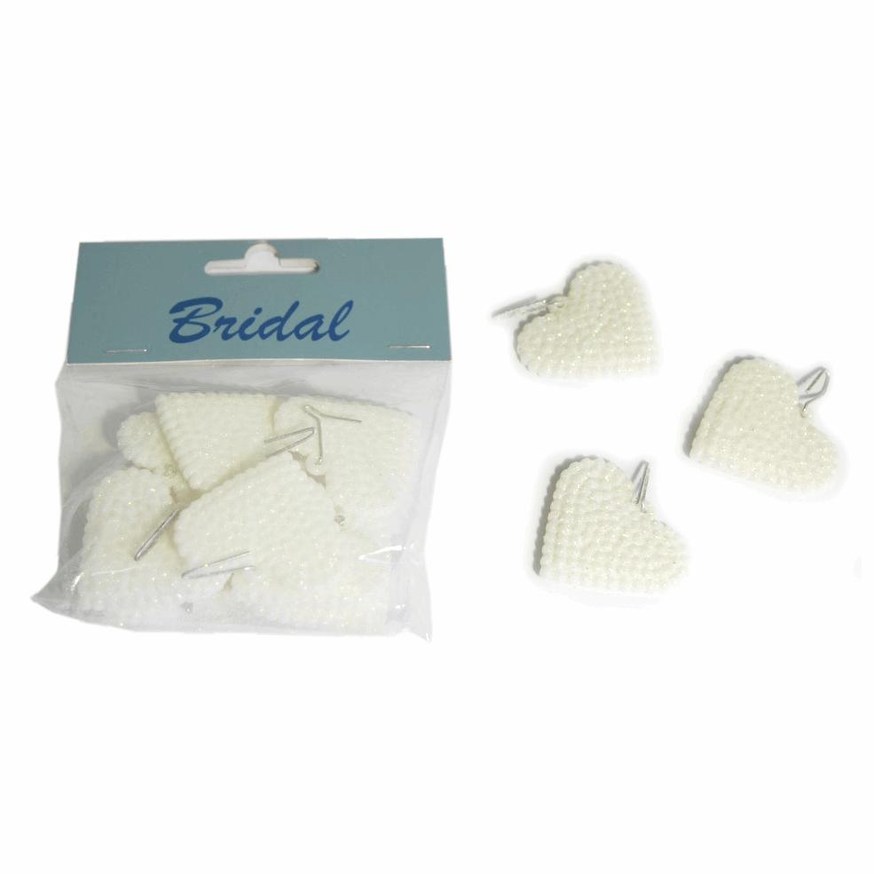 10x Glitter Solid Heart Hangers Embellishments Craft Cardmaking Scrapbooking Silver