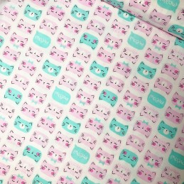 100% Cotton Patchwork Fabric Timeless Treasures Happy Cat Faces Meow pink