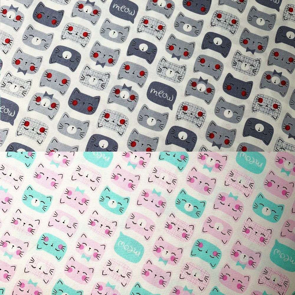 100% Cotton Patchwork Fabric Timeless Treasures Happy Cat Faces Meow grey