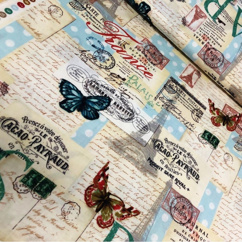 100% Cotton Fabric David Textiles Letter From Paris France Stamp Butterfly Eiffel Tower
