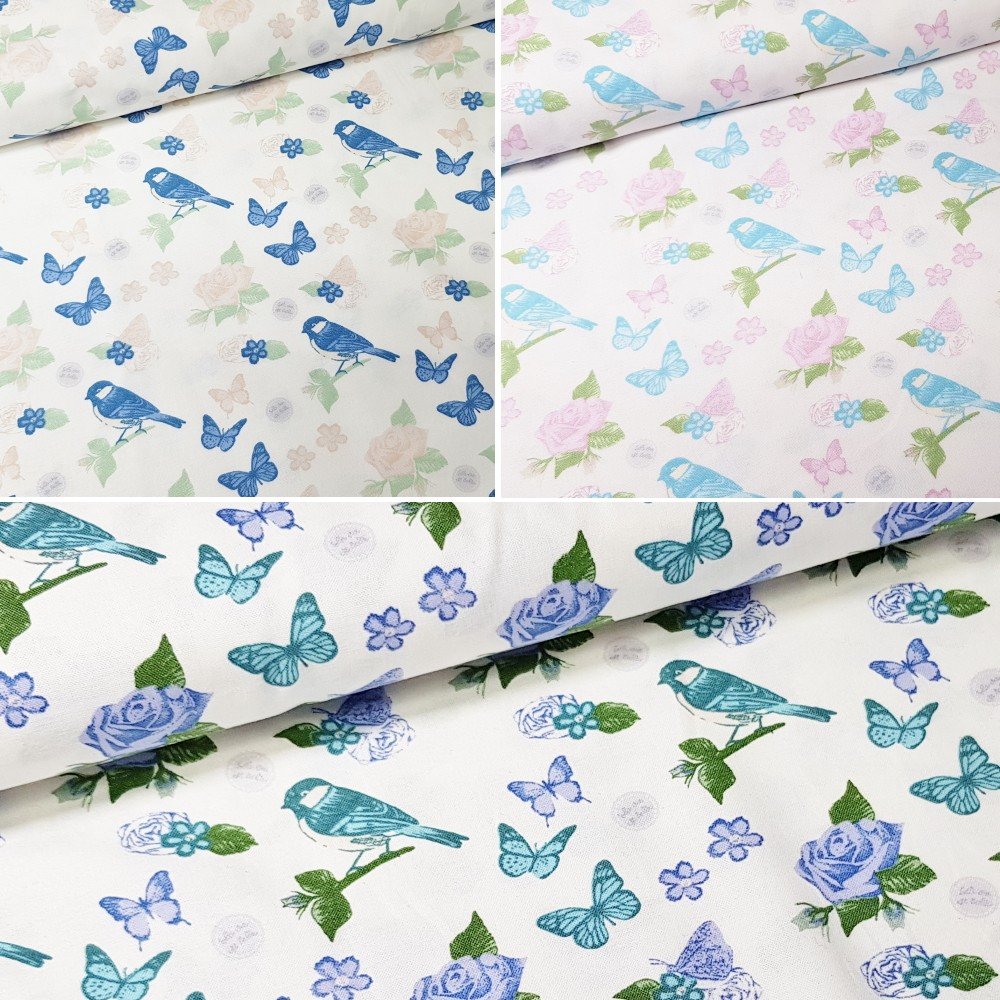 100% Cotton Fabric by Fabric Freedom Birds Butterflies Roses Floral Pastel Col 2