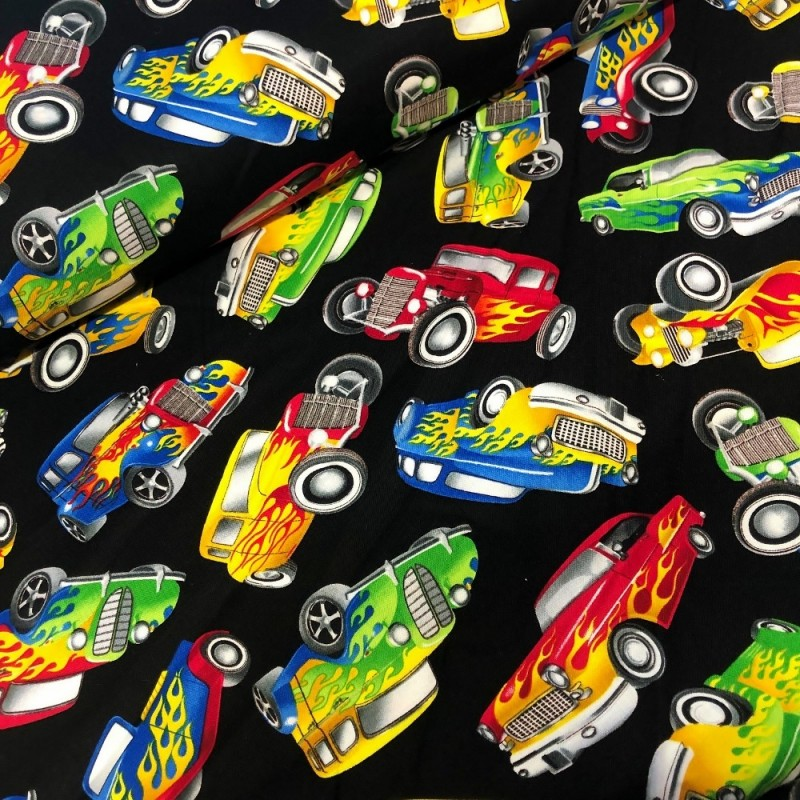 100% Cotton Fabric Makower Vintage American Hot Rod Vibrant Car Pickup Vehicle