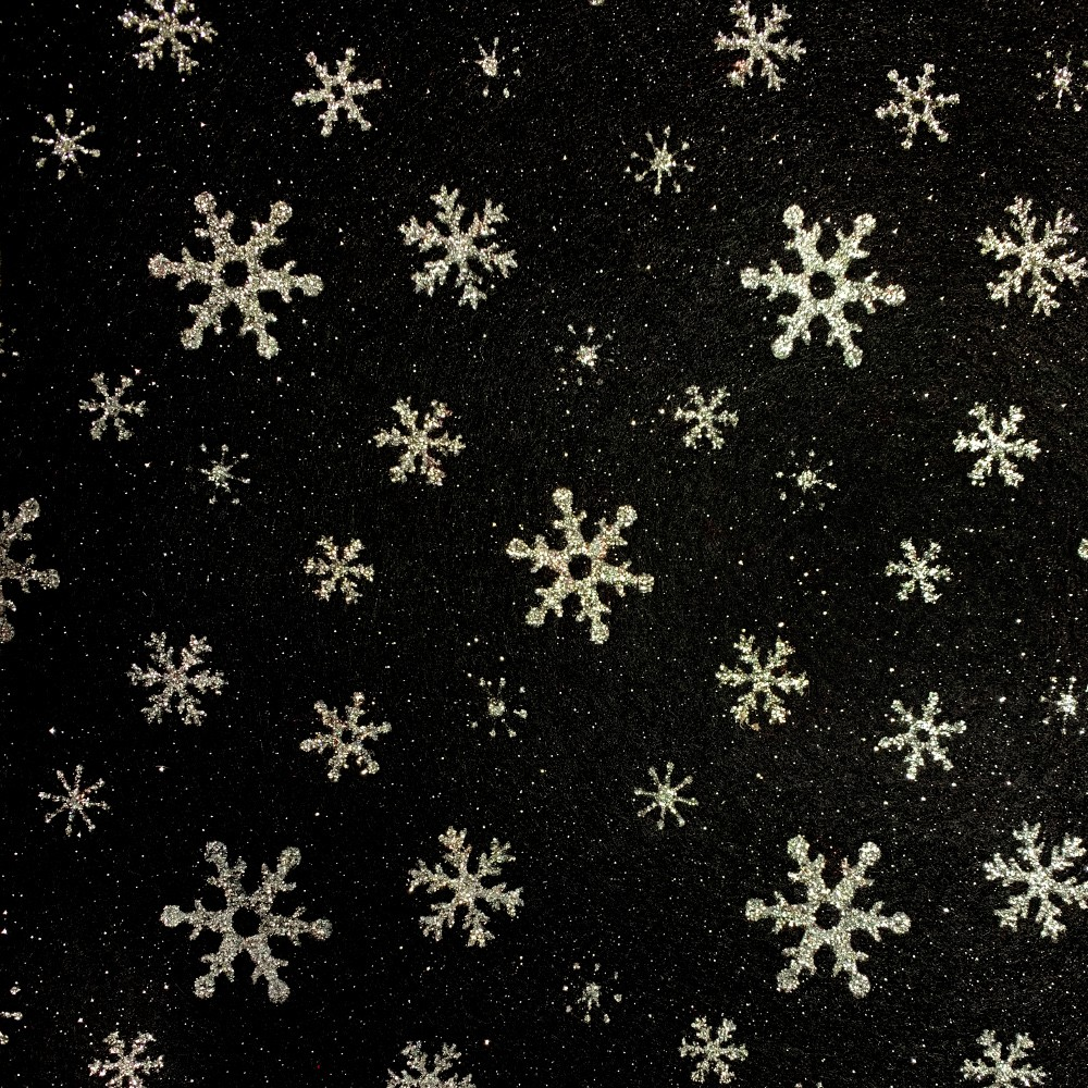 2 x Pieces 100% Acrylic Felt Fabric Black Silver Glitter Snowflakes A4 Sheet 23cm x 30cm