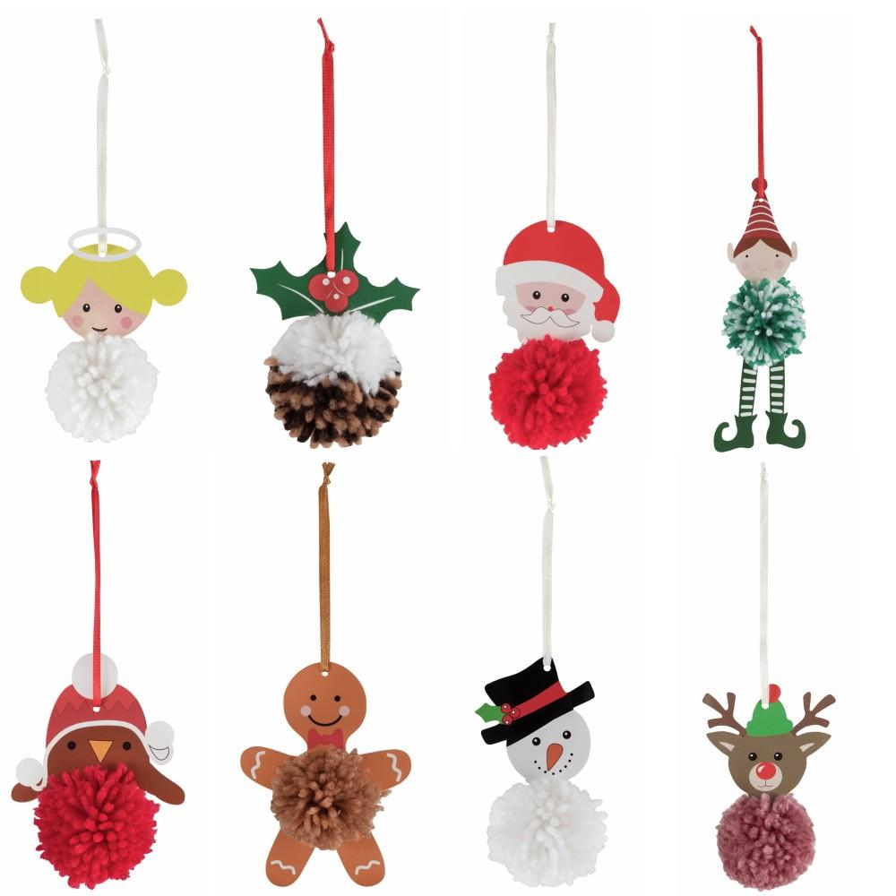 Christmas Festive Xmas Character Pom Pom Making Kit Decoration Crafts Reindeer