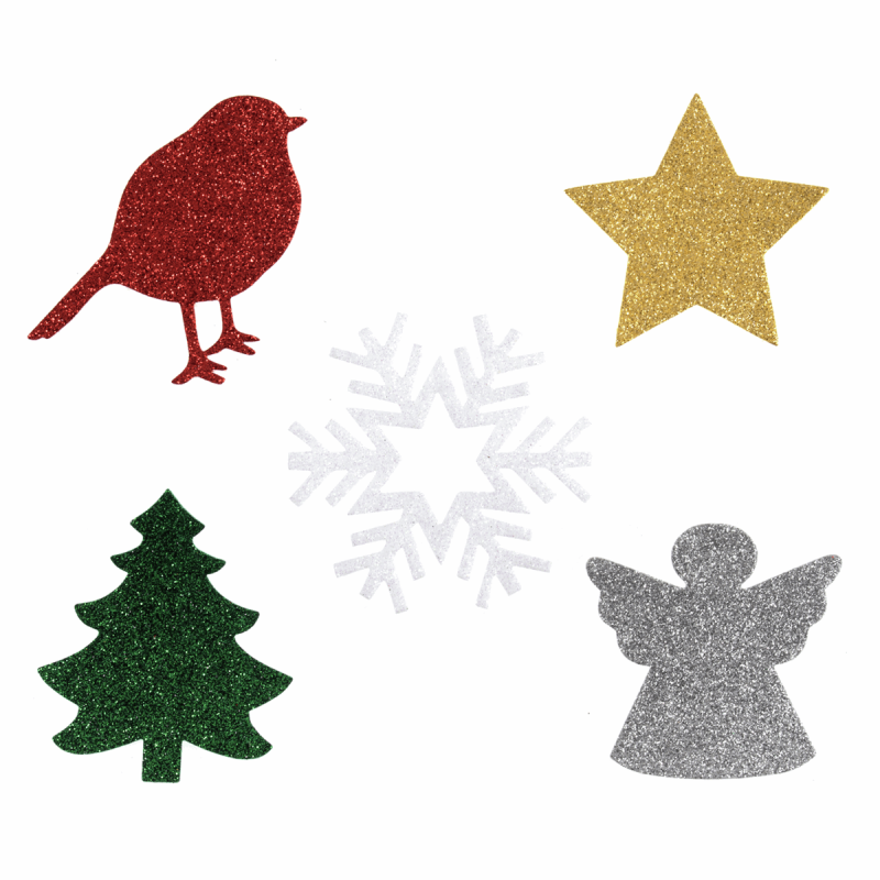 Christmas Designs.Trimits Felt Glitter Shapes Sew On Or Iron On Christmas Designs