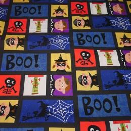 100% Cotton Fabric Halloween Pumpkin Children Trick or Treat Squares 140cm Wide