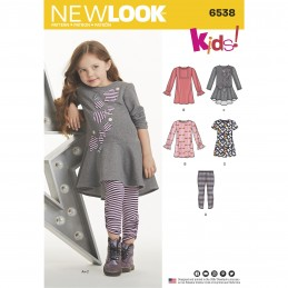 New Look Sewing Pattern 6538 Child's Knit Leggings and Dresses Tops Tunics