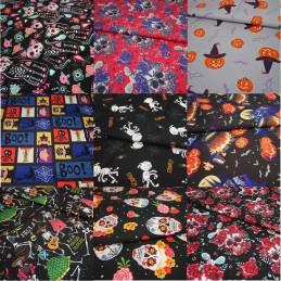100% Cotton Fabric Halloween Skulls Pumpkin Bats Spiders Web Cats Ghost Roses