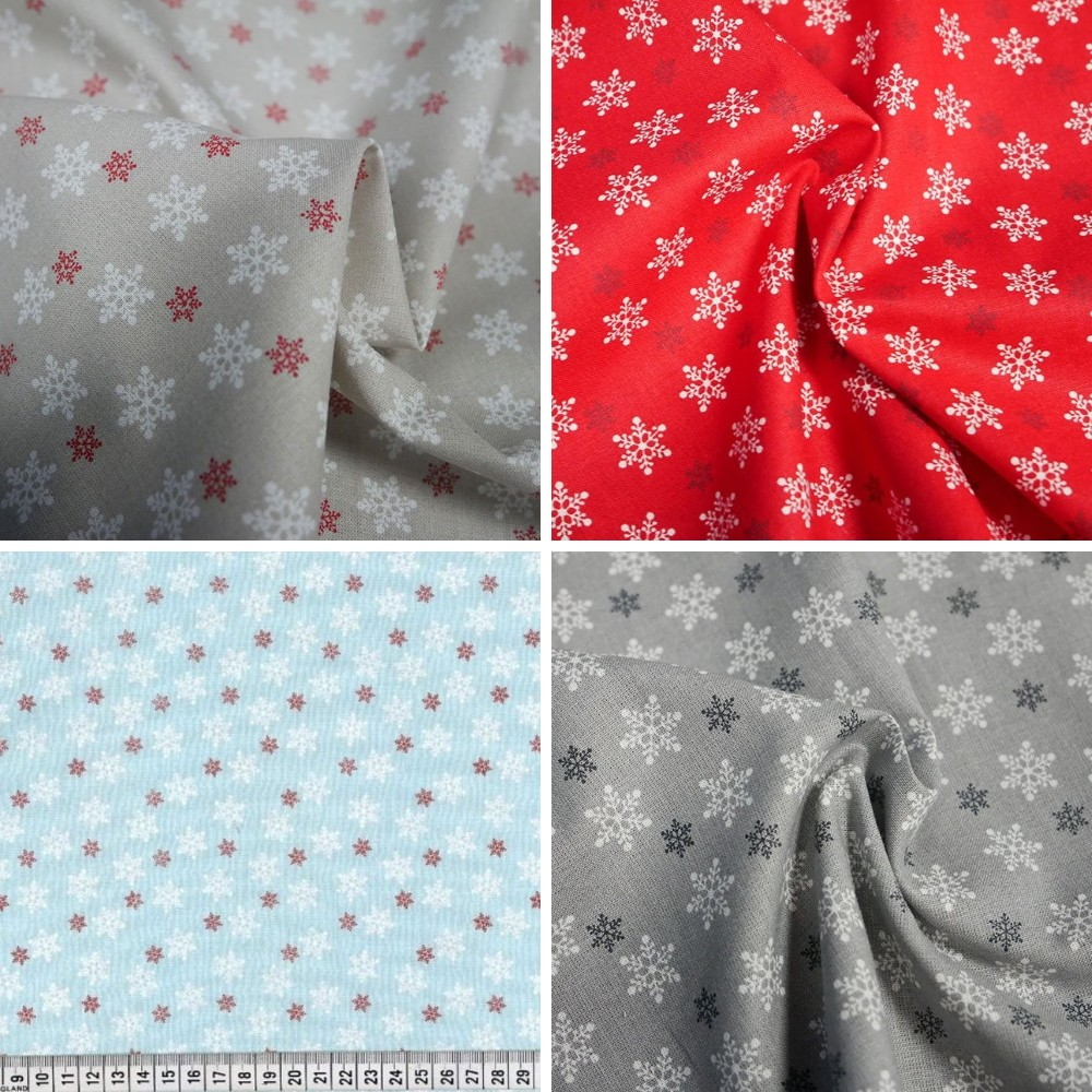 100% Cotton Fabric Chirstmas Sowflake Celebration Festive Xmas Winter Festive Beige