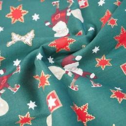 100% Cotton Fabric Chirstmas Santa Sowflake Celebration Festive Xmas  Festive Green