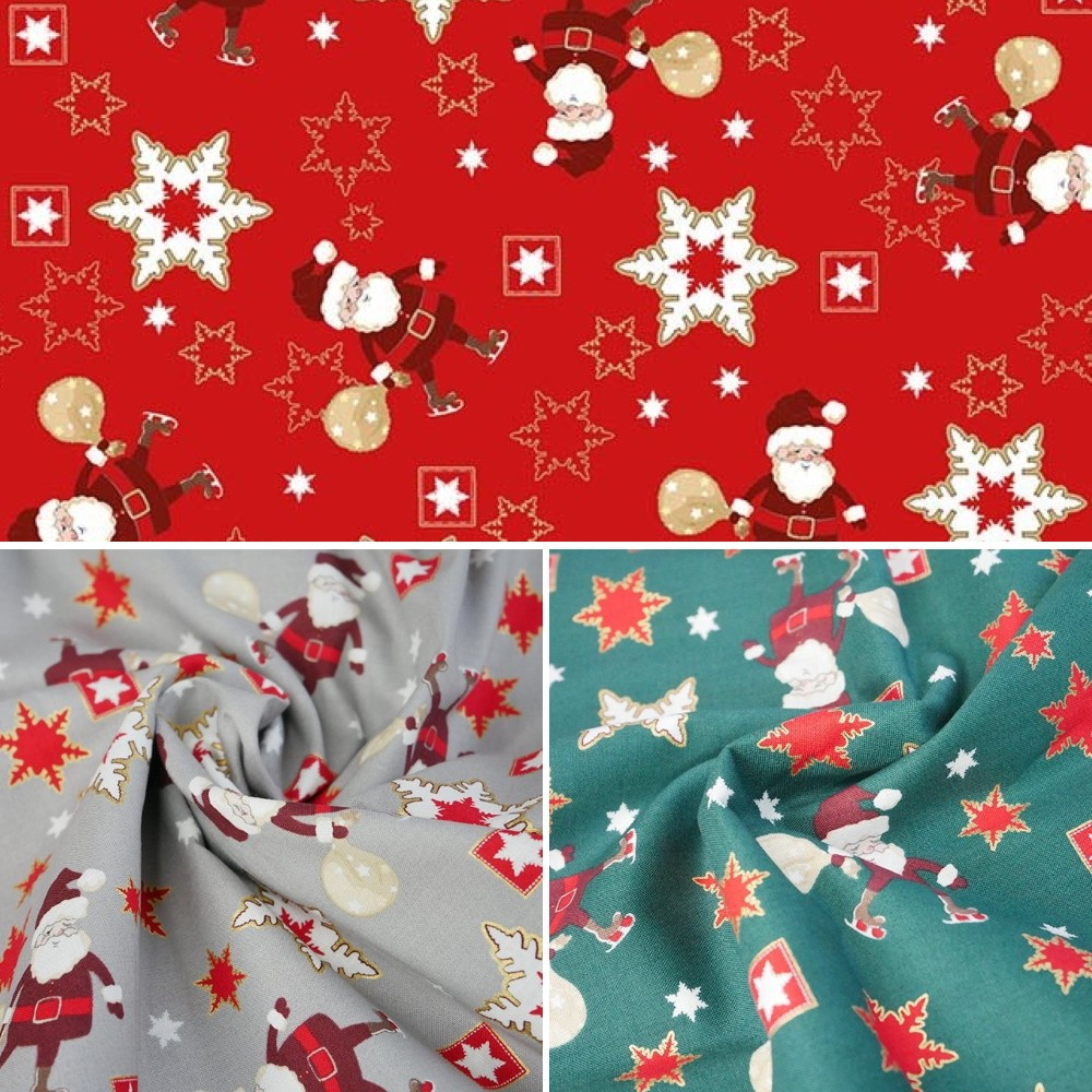 100% Cotton Fabric Chirstmas Santa Sowflake Celebration Festive Xmas  Festive Red