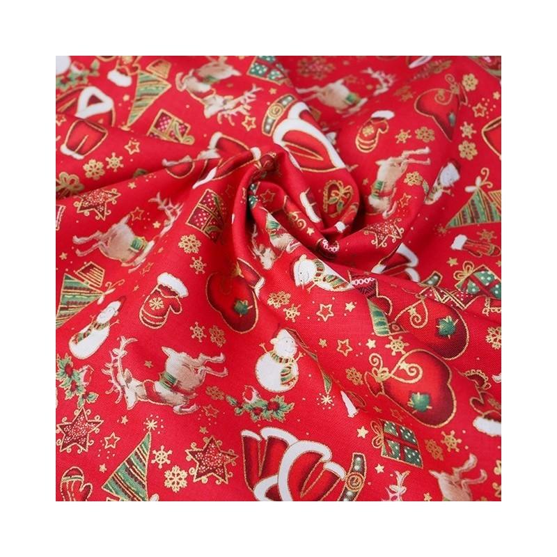 100% Cotton Fabric Chirstmas Present Santa Sack Reindeer Glove Hat Red