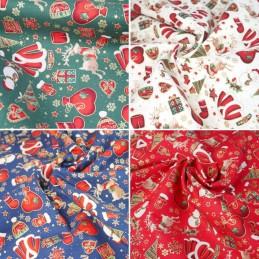 100% Cotton Fabric Christmas Present Santa Sack Reindeer Glove Hat 140cm Wide