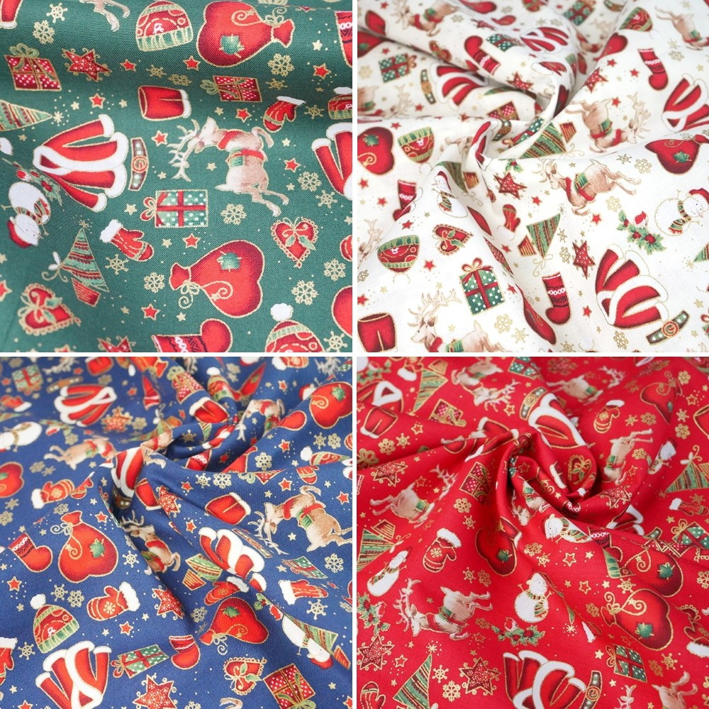 100% Cotton Fabric Chirstmas Present Santa Sack Reindeer Glove Hat Red
