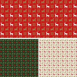 100% Cotton Fabric Christmas Reindeer In Lines Xmas Festive 140cm Wide