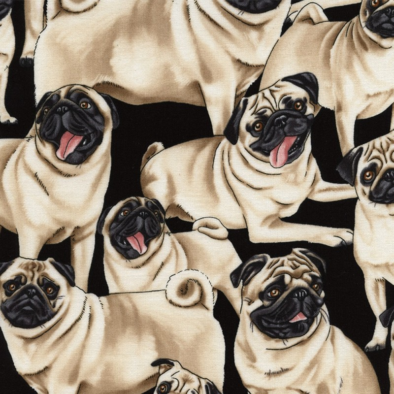 100% Cotton Fabric Timeless Treasures Cute Pug Breed Dogs Puppies Pets Tongue