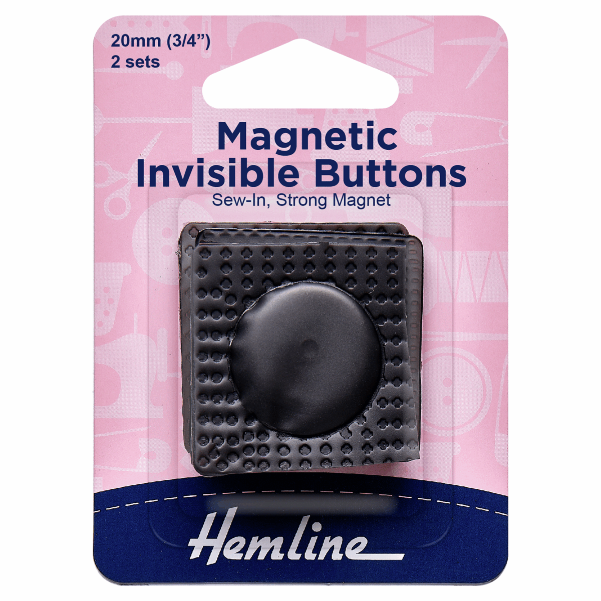 Hemline 2 x 20mm Magnetic Invisible Buttons Sew In Black