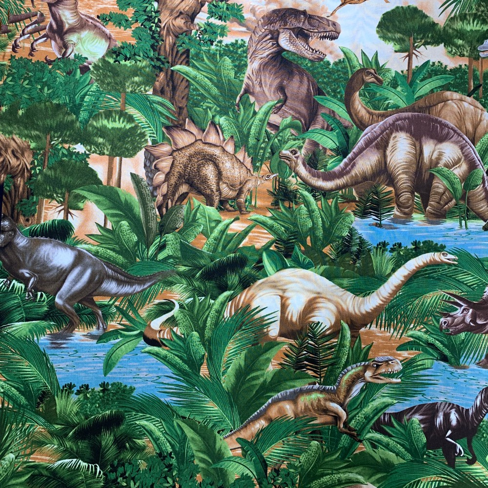 100% Cotton Fabric Timeless Treasures Jurassic Dinosaur Jungle T-Rex Triceratops