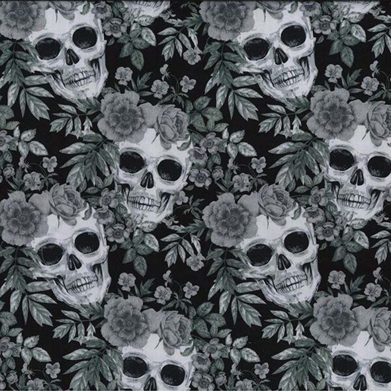 Black 100% Cotton Poplin Fabric Rose & Hubble Skulls & Roses Halloween Spooky