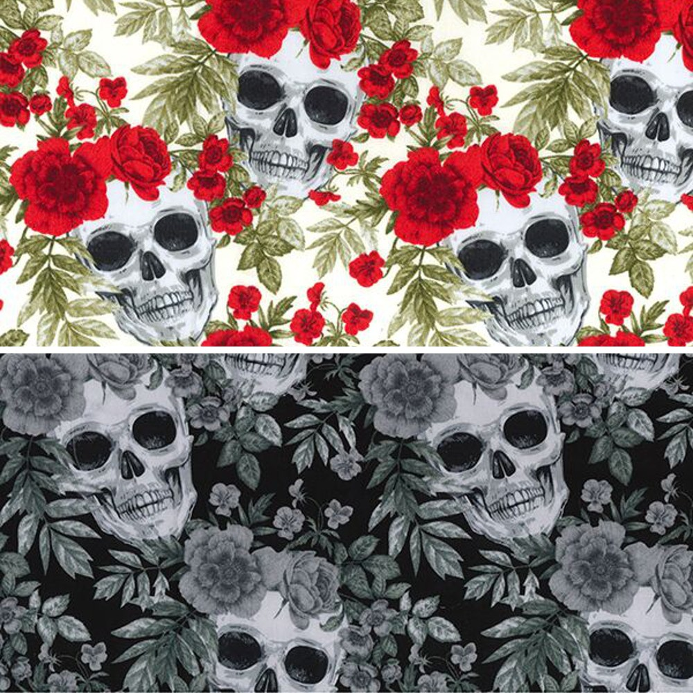 Black 100% Cotton Poplin Fabric Rose & Hubble Skulls & Roses Halloween Spooky